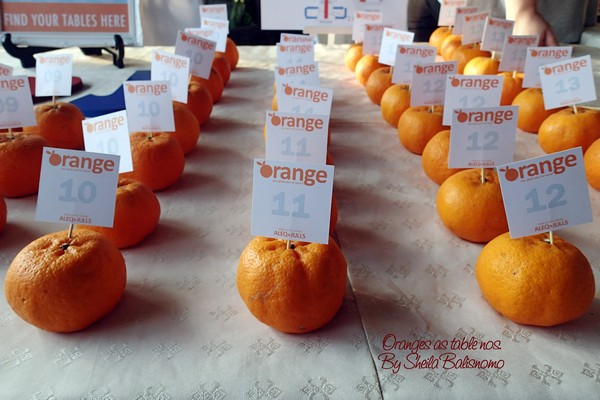 oranges as table nos.