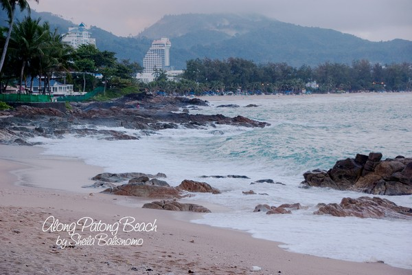 along Patong beach