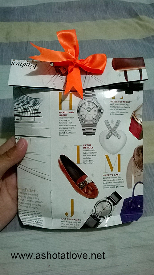 magazine pages can be used as gift wrap