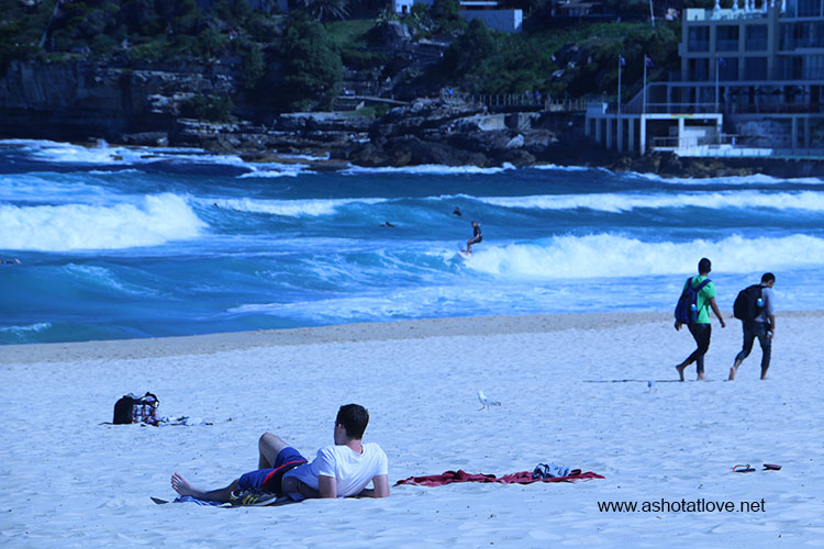 sunbathing at Bondi Beach